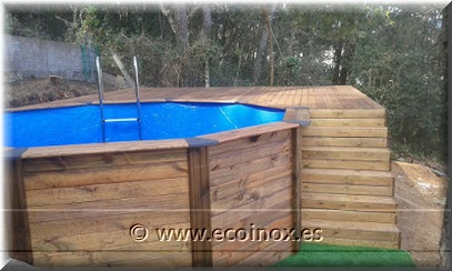 Montaje de tarima y piscina ecoinox clientes - Piscina elevada ...