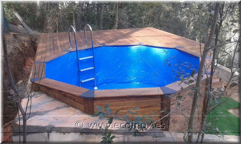Montaje de tarima y piscina ecoinox clientes for Piscina elevada madera